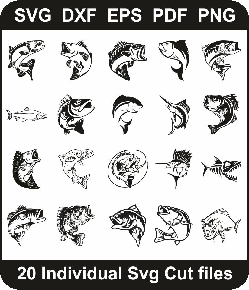 Download Fishing Svg Bundle Fish Svg Cut File Design Pack For Cricut Silhouette